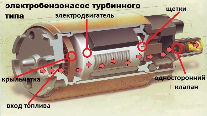 Бензонасос электрический в разрезе
