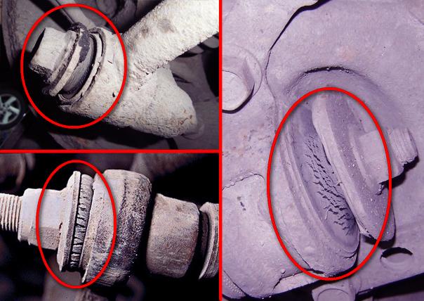 Резиновые части сайлентблоков потрескались и требуют замены